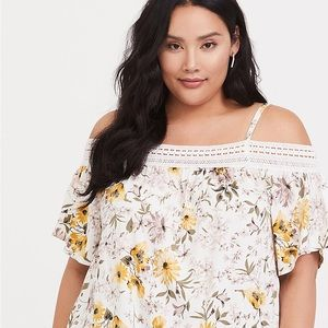 IVORY & YELLOW FLORAL COLD SHOULDER CROCHET TOP